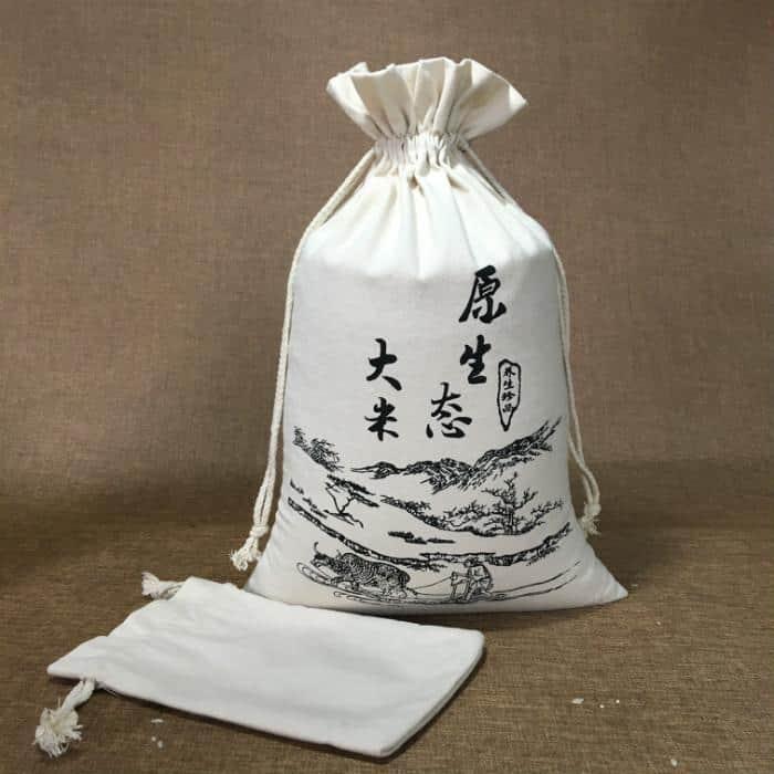 原生态大米帆布束口袋包装展示